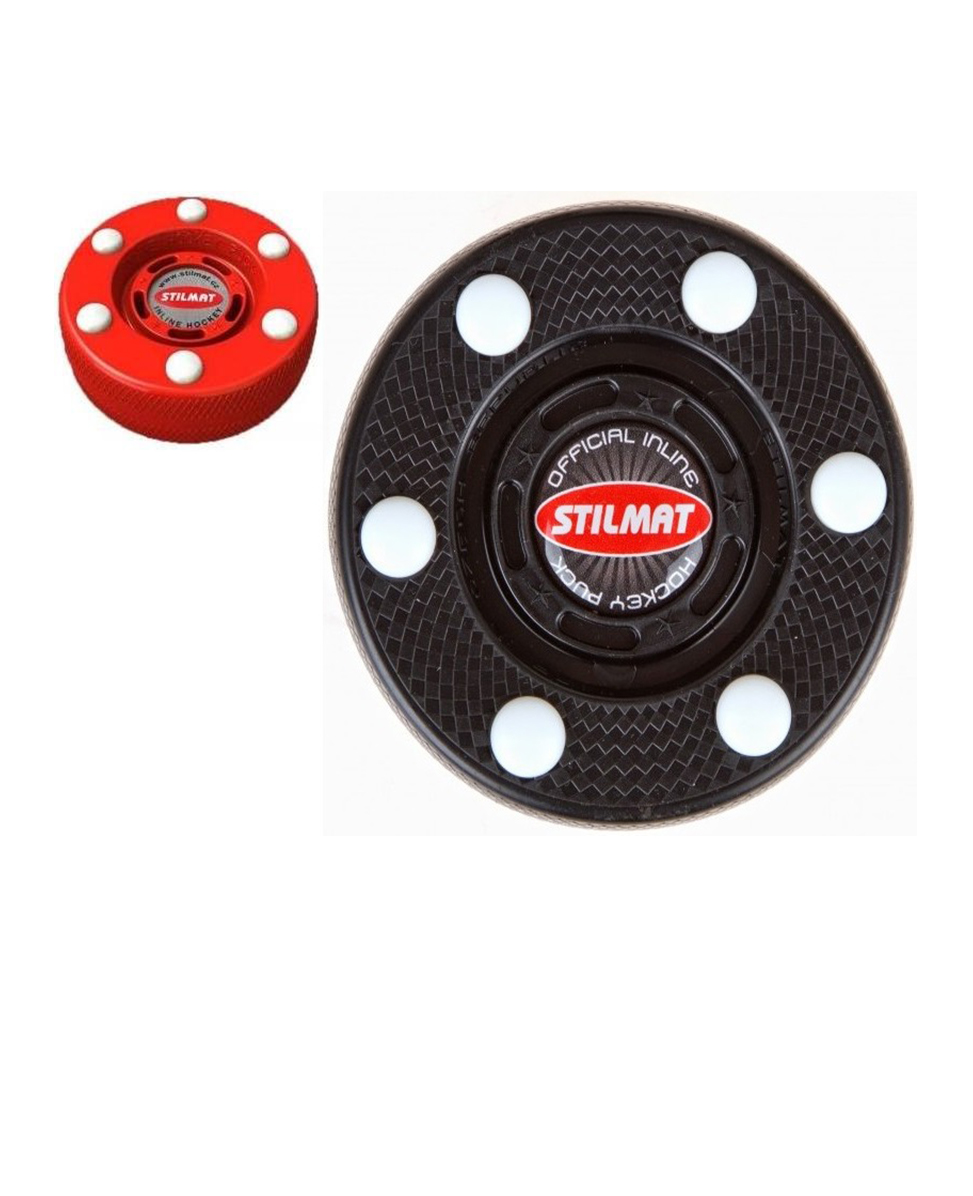 Stilmat puck for inline hockey in red and black