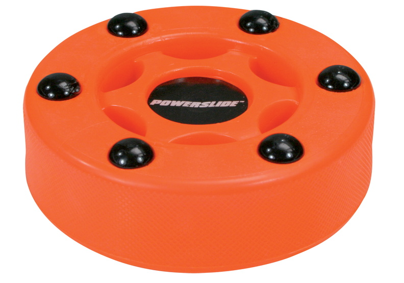 Powerslide inline roller hockey puck with red colour and with official size and weight