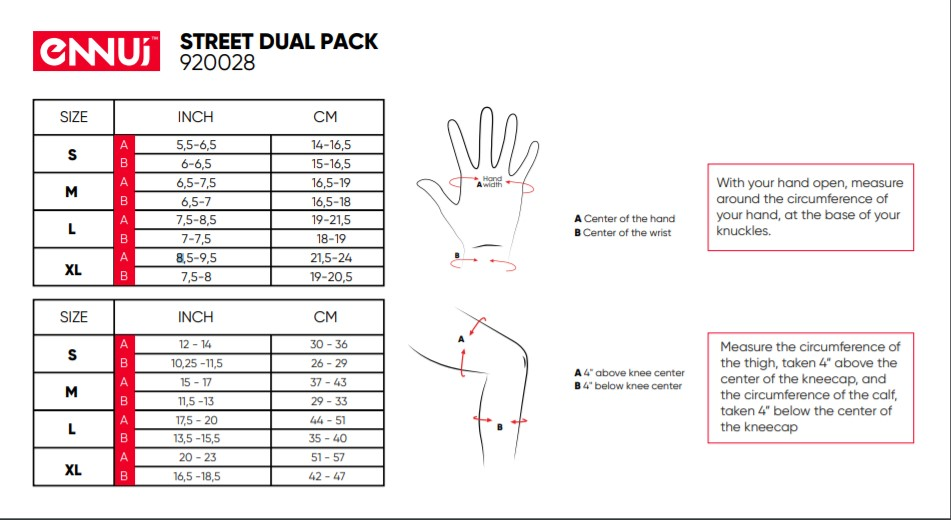 Street Dual Pack Sizing chart