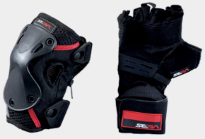 Seba protection pack with a pair of gloves to protect the wrists and a pair of knee pads with zip
