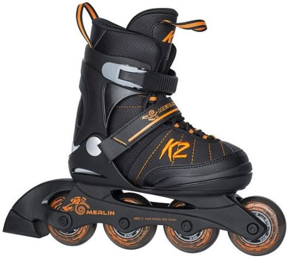 K2 Youth Skate Merlin with orange touch side view