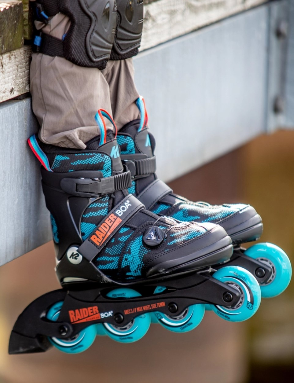 K2 Youth Skate Raider Boa with four wheels and Boa closure system on feet