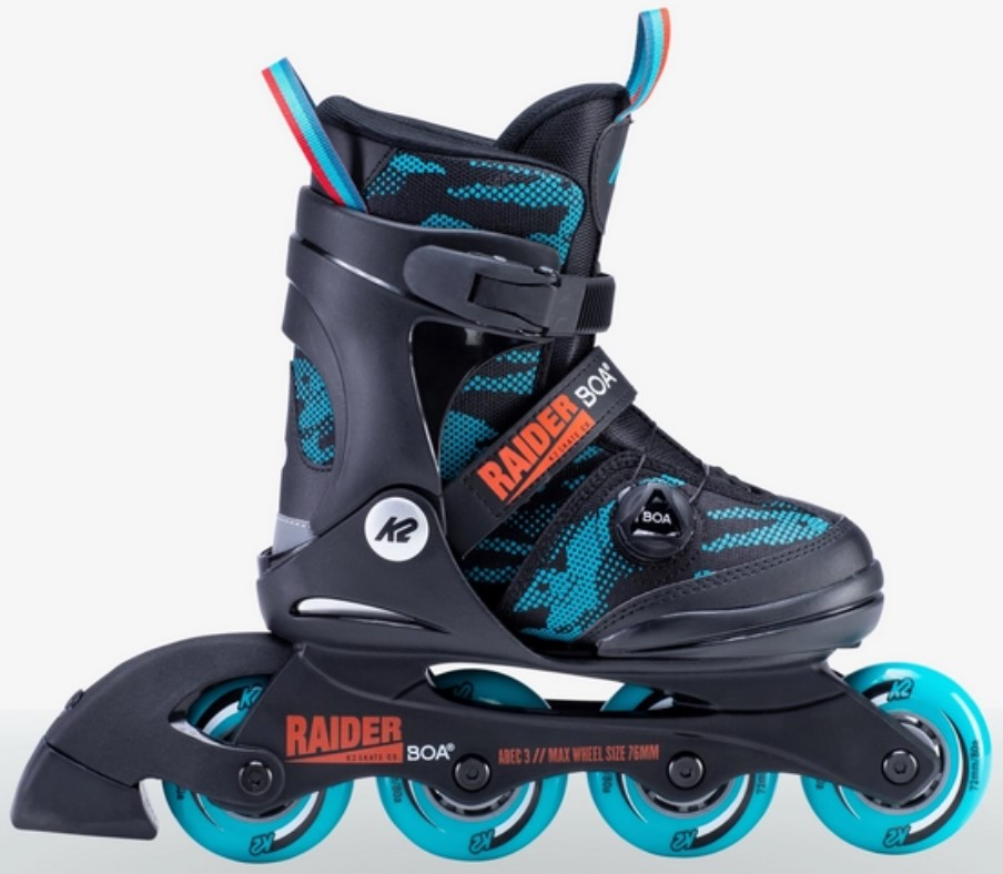 K2 Youth Skate Raider Boa with four wheels and Boa closure system side view