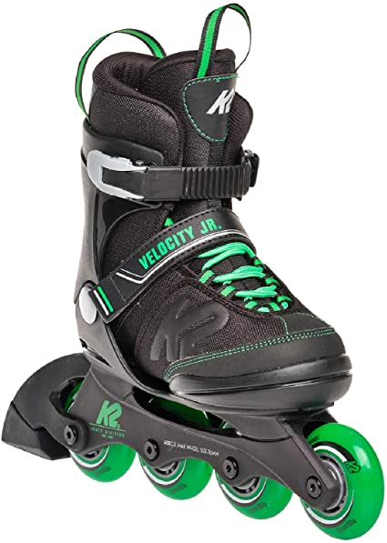 K2 Youth Skate Velocity Junior with green colour touch and four wheels