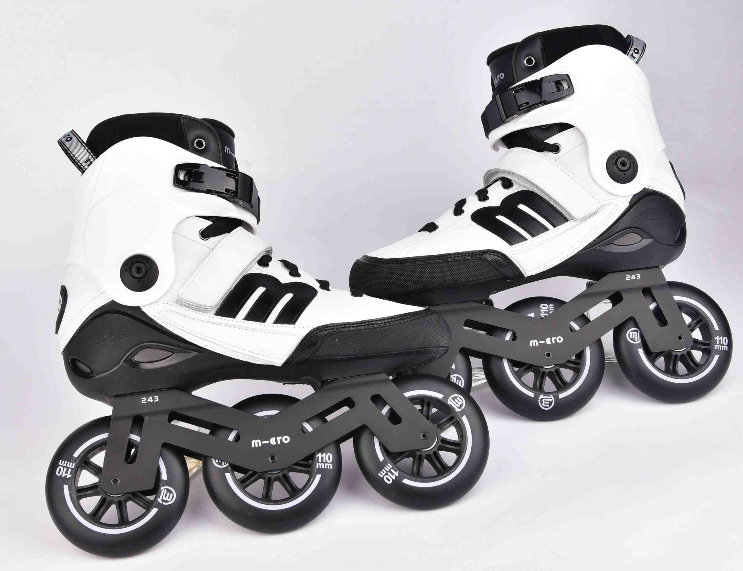 a pair of Micro white BEAT inline skates for urban use
