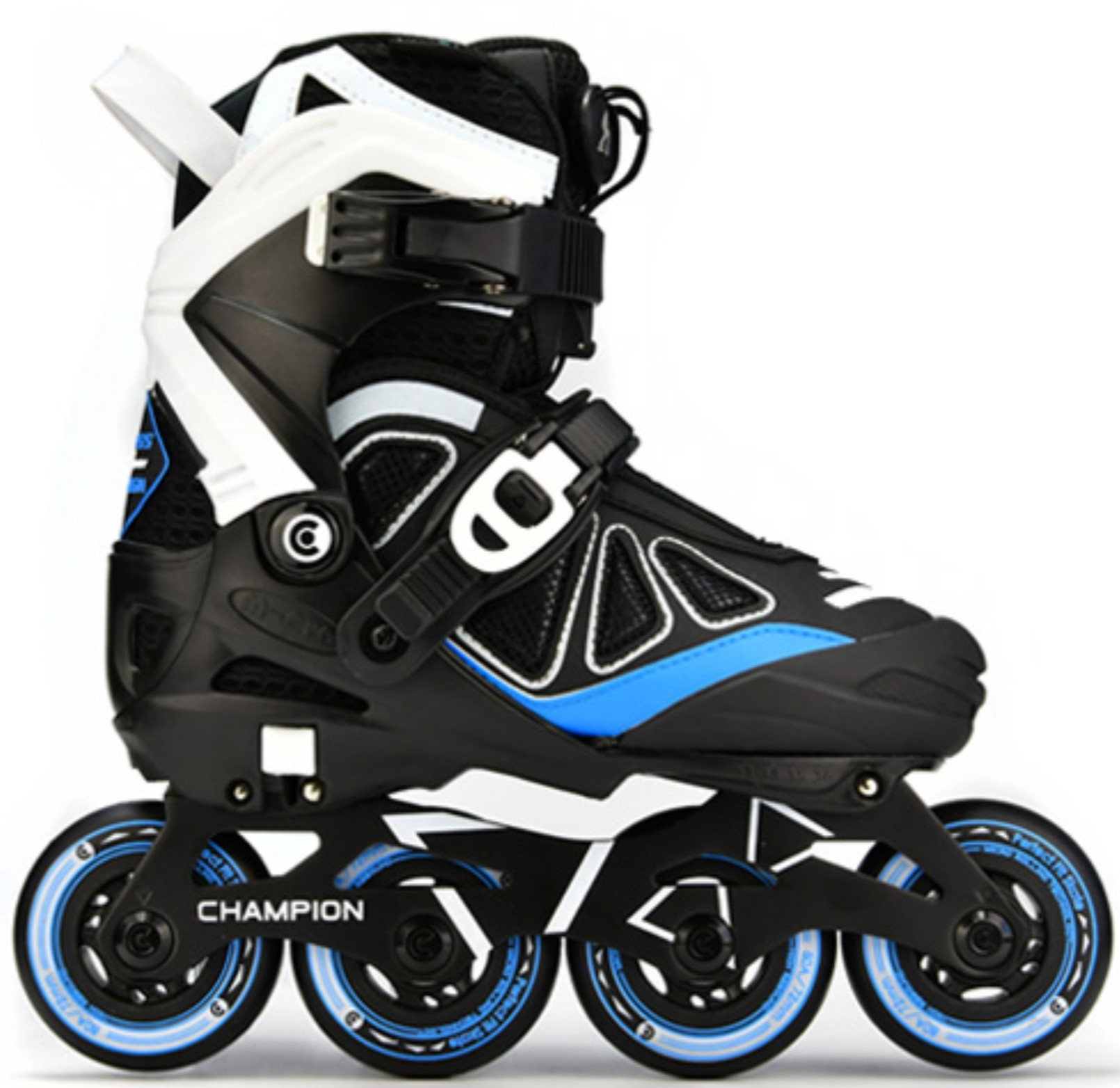Micro Champion inline skate for kids adjustable in size in colours black blue and white with 76 mm wheels in side view