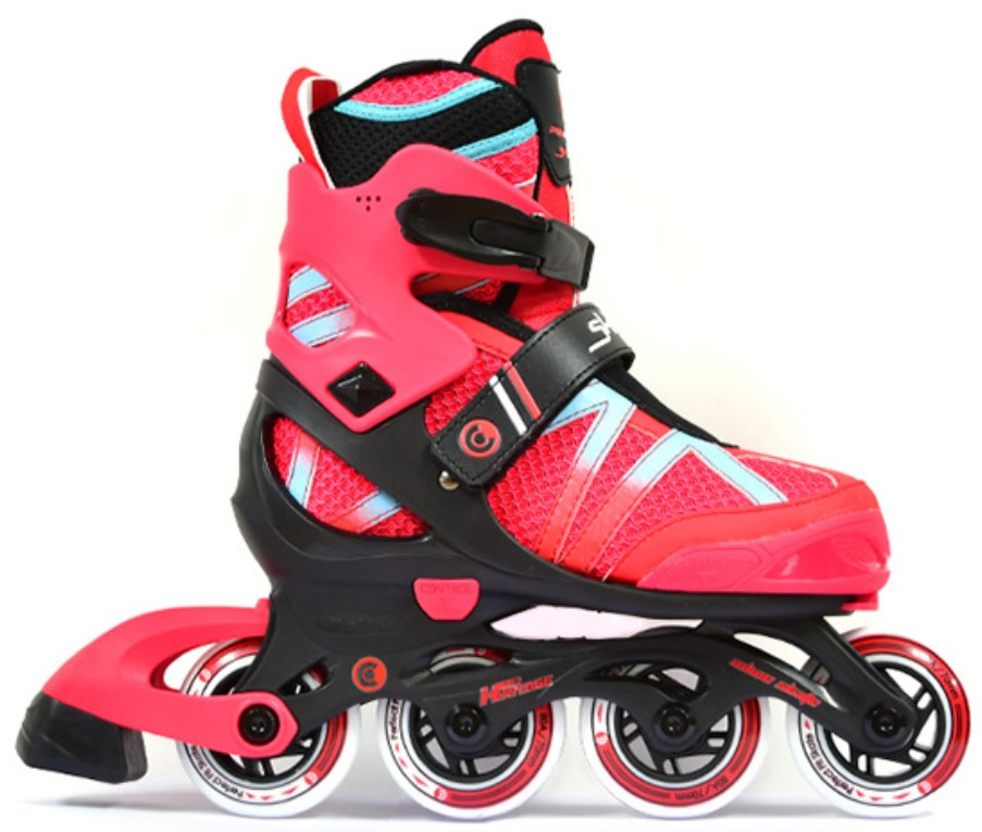 Micro Shaper inline skate for kids adjustable in size in colours black and red in side view