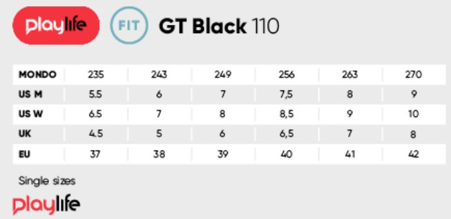 Powerslide GT Black 110 sizing chart