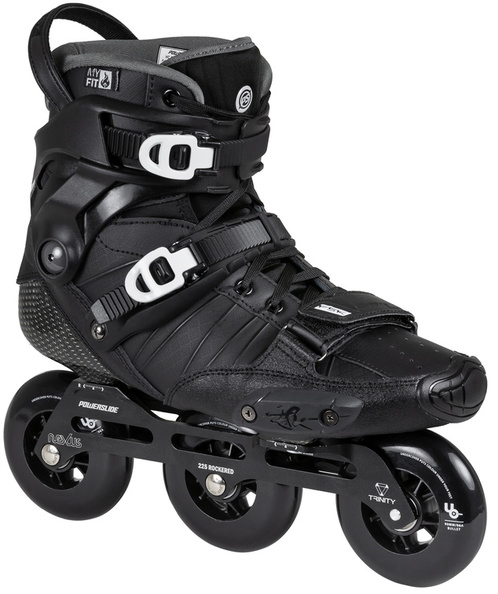 The black HC EVO Pro, the urban inline skate of Powerslide with three wheels of 90 mm