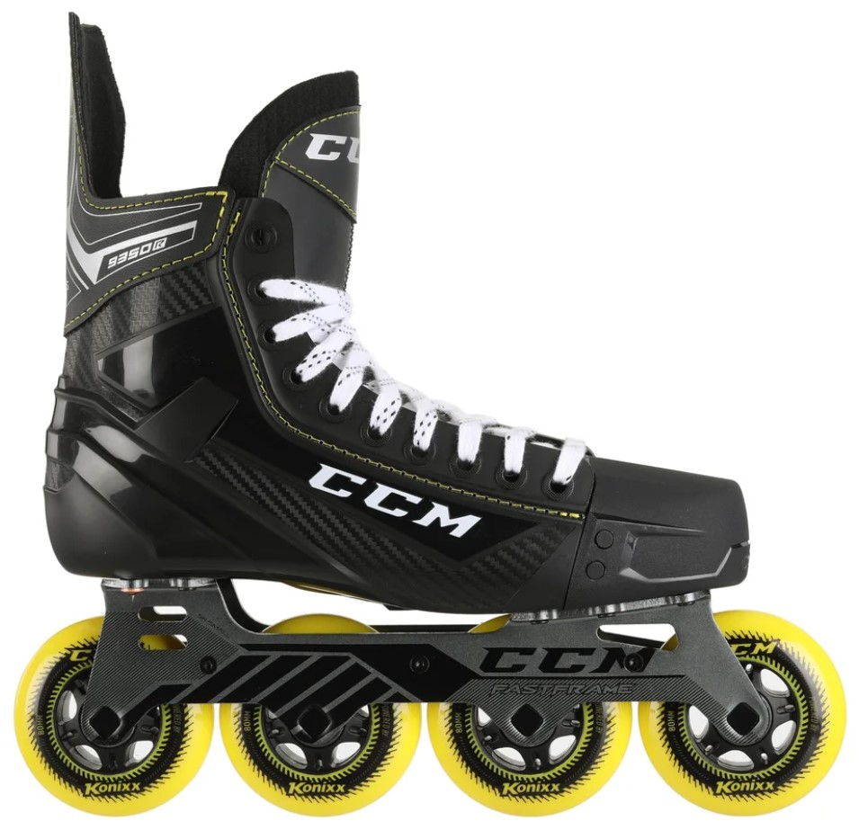 CCM Tacks roller hockey skate with yellow 80 mm diameter wheels