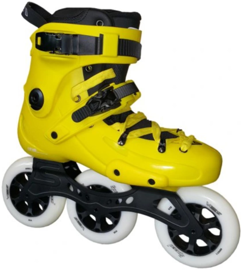 Yellow FR1 inlineskates with three 110 mm wheels, making it a FR1 310 Yellow