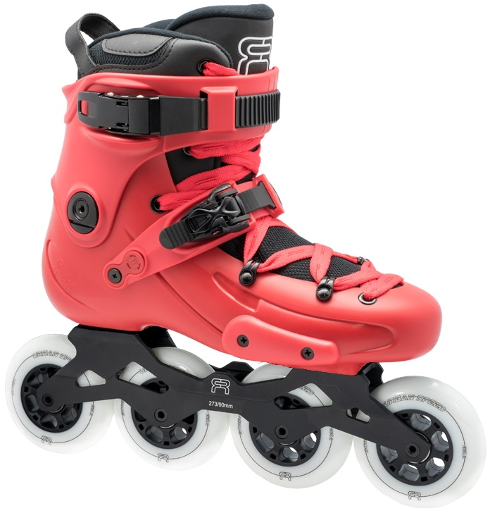 red FR1 90 inline skate for fitness and freeride with white 90 mm wheels and a 273 mm four wheel frame