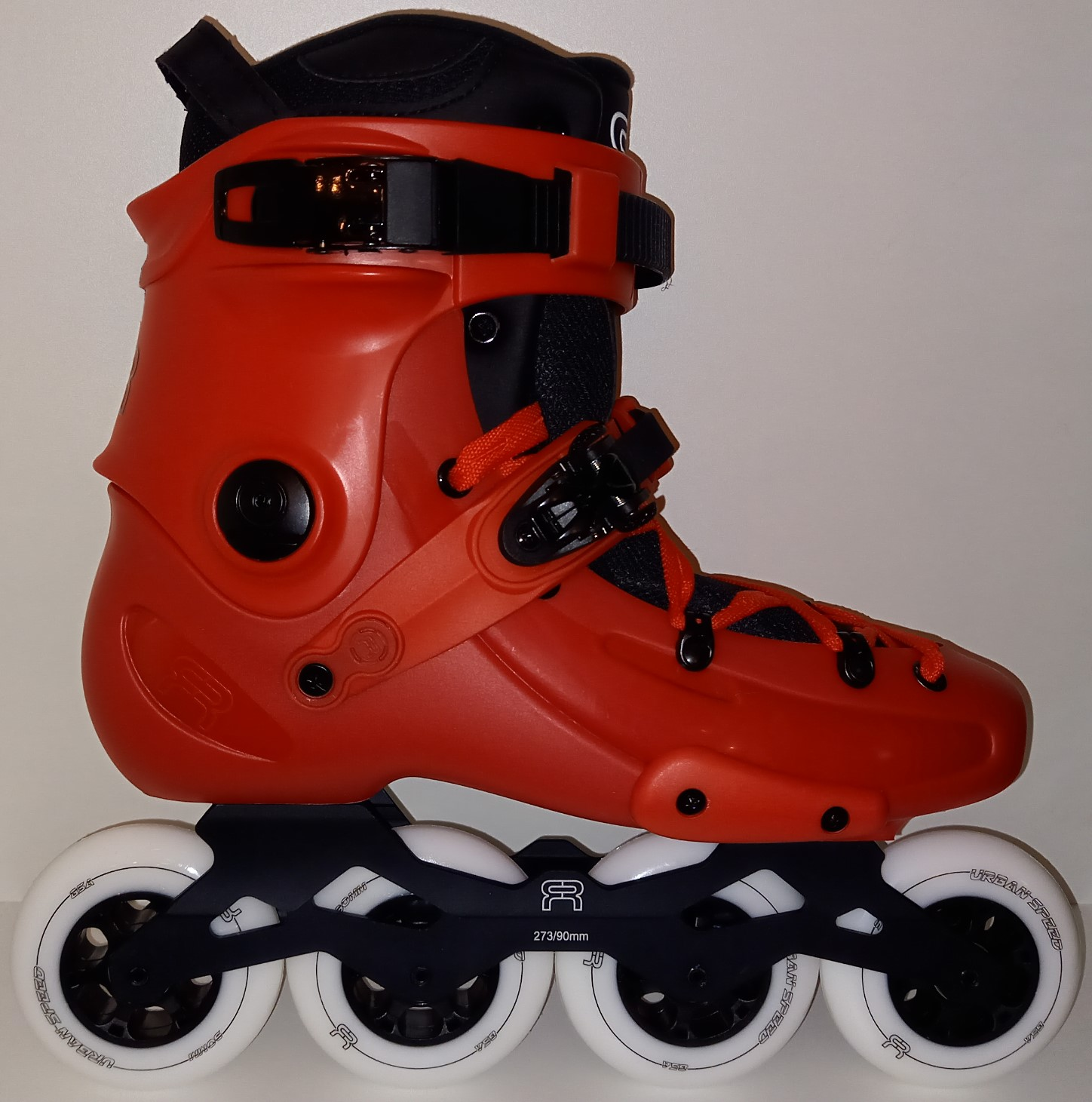red FR1 90 inline skate for fitness and freeride with white 90 mm wheels