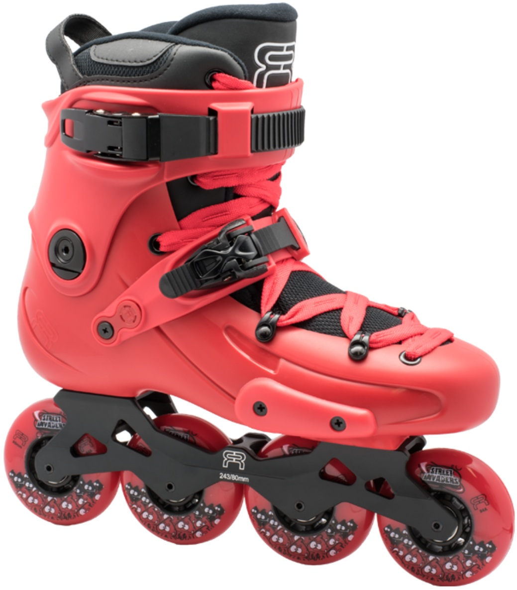 A red inline skate, named FR 1 80, with 4 wheels of 80 mm