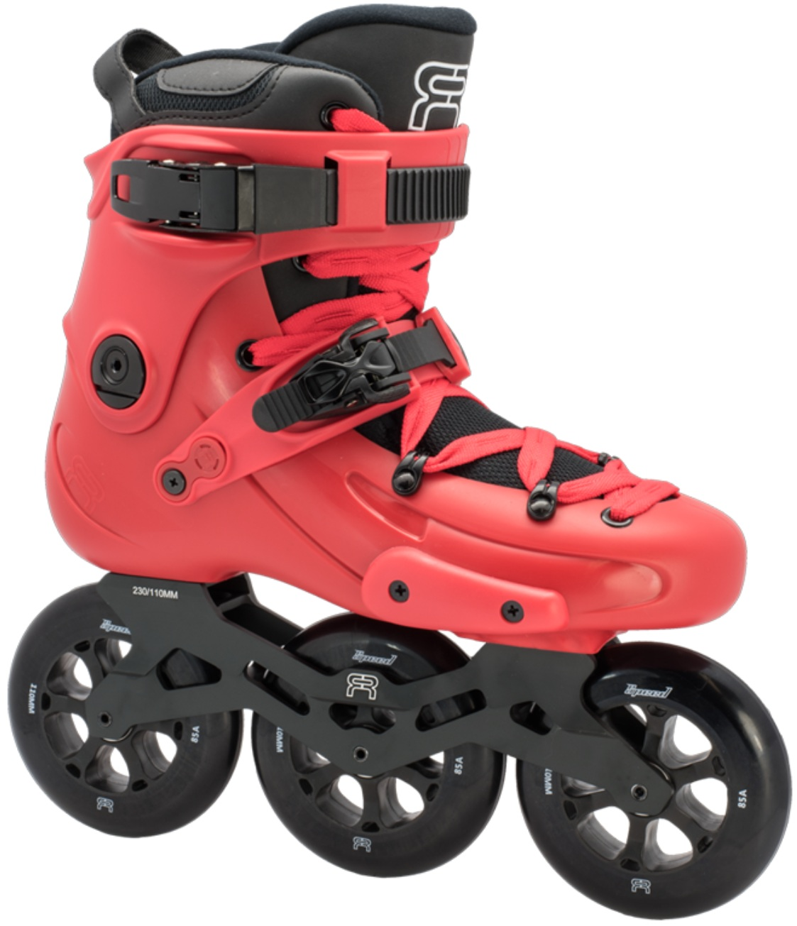A red inline skate, named FR 1 310, with 3 wheels of 110 mm