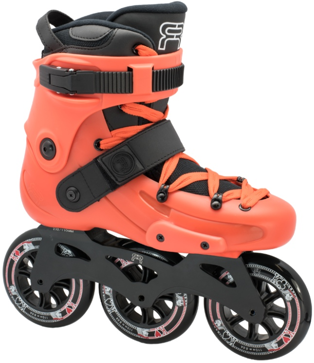An orange inline skate, named FR X 310, with 3 wheels of 110 mm