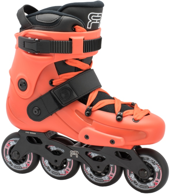 An orange inline skate, named FR X 80, with 4 black wheels of 80 mm