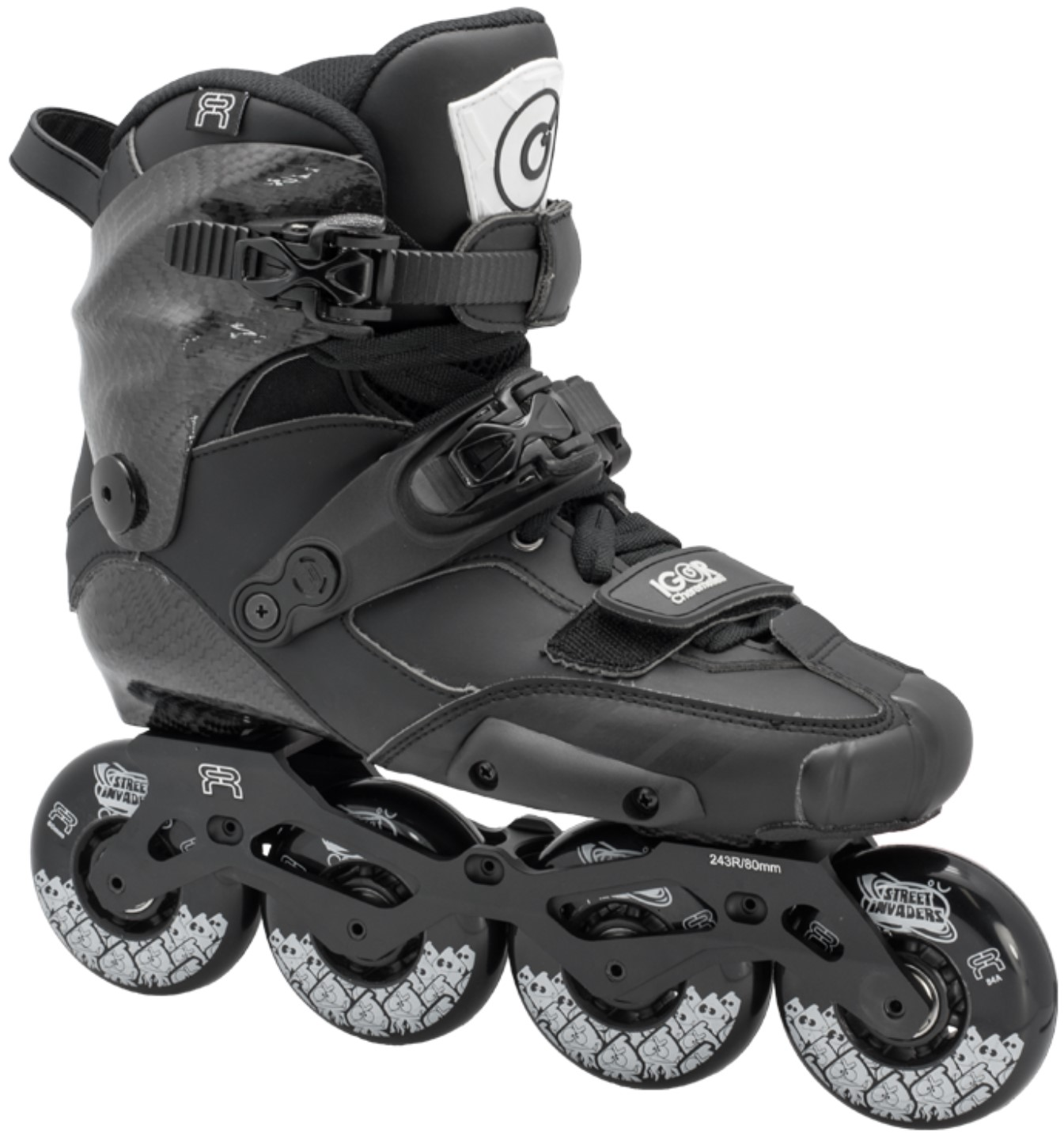 Igor inline skate in black for slalom competitions