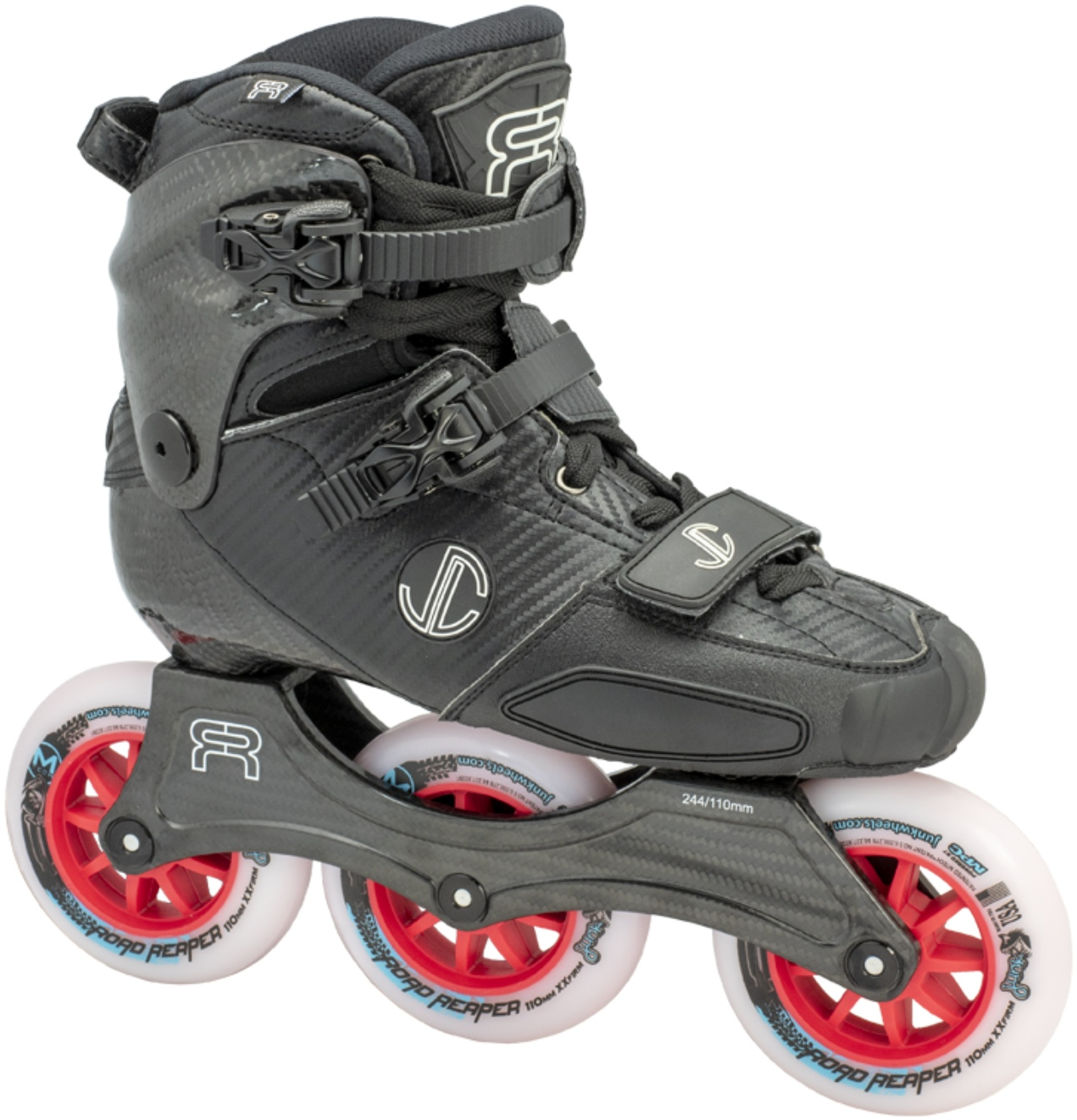 Black FR SL Carbon skate with white 110 mm MPC wheels for speed slalom