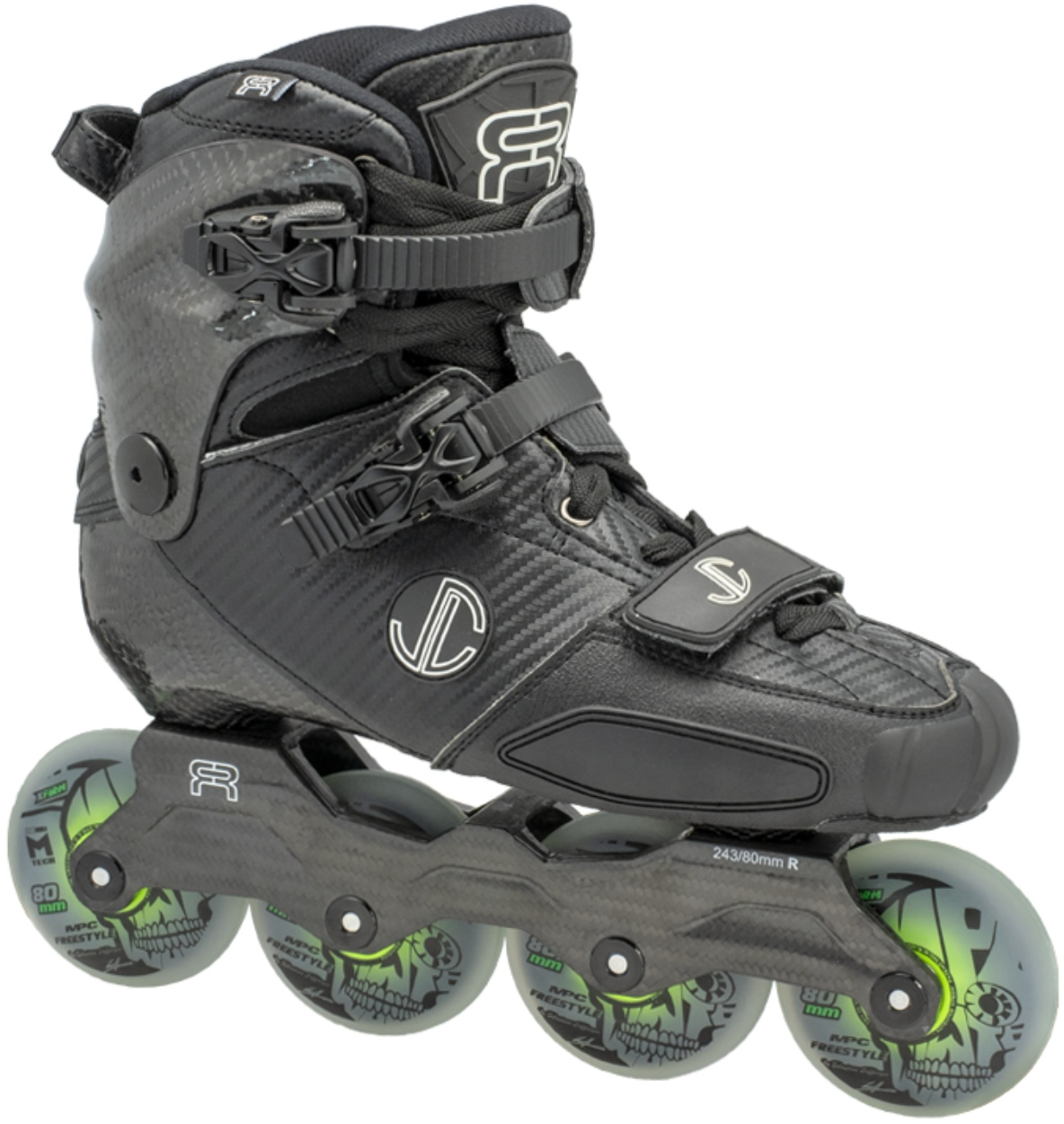 FR SL Carbon skate with 80 mm dual density freestyle wheels for slalom tricks