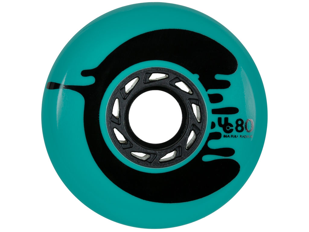 Teal UnderCover Cosmic Roche inline skate wheel of 80 mm and 88A durometer with full radius in front view
